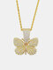 Hiphop Insect Butterfly Necklace Full Diamond Cuban Men's Necklace - Gold