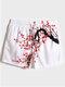 Mens Peach Blossom Painting Print White Swim Trunks With Mesh Liner - White