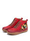 Plus Size Women Comfy Splicing Soft Lace Up Cat Printing Flat Ankle Boots - Red