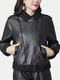 Solid Color Zipper Pockets Leather Causal Coats for Women - Black