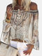 Ethnic Print Off Shoulder Plus Size Knotted Blouse For Women - Khaki