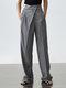 Solid Color Plain Asymmetrical Pocket Long Casual Pants for Women - Dark Gray