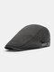 Men Cotton Solid Color Casual All-match Beret Flat Cap - Gray