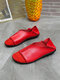Women Solid Color PU Sticting Brief Soft Comfortable Flats - Red