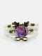 Vintage Purple Cat Pattern Print Butterfly Braided Gemstone Multi-layer Bracelet - White