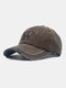 Unisex Washed Cotton Solid Color Letter Embroidery Retro All-match Baseball Cap - Coffee