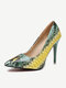 Women Party Sexy Snake Pattern Pointed Toe Stiletto High Heel Evening Shoes - Green