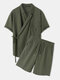 Mens Casual Wrap Tie Side Top Solid 100% Cotton Two Pieces Outfits - Green