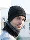 男性2 / 3PCSPlusベルベット暖かく冬の首の保護ヘッドギアスカーフフルフィンガーグローブニット帽ビーニー - #06