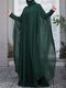 Plus Size Muslim Double Layer Two-piece Chiffon Maxi Dress - Green