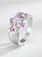 Vintage Colored Epoxy Women Ring Violet Flower Ring Jewelry Gift - Pink