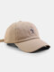 Unisex Cotton Solid Color Simple Strokes Figure Embroidery All-match Sunshade Baseball Cap - Khaki
