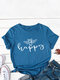 Bee Letters Loose O-neck Short Sleeve T-Shirt For Women - Blue