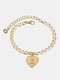 Luxury 26 English Letters Women Anklet Wild Heart Pendant Anklet Jewelry Gift - E