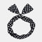 Cute Bow Hairband Straight Wire Hairband White Dot Stripe Fabric Cross Headband - #03