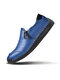 Men Side Zipper Pure Color Large Size Casual Daily Hand Stitching Casual Shoes - Blue