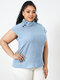 Solid Color Stand Collar Short Sleeve Plus Size Button Blouse for Women - Blue
