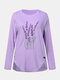 Lavender Embroidery O-Neck Irregular Hem Button Blouse - Purple