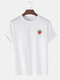Mens 100% Cotton Strawberry Printed Round Neck Casual Short Sleeve T-shirts - White