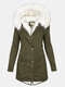 Solid Color Button Long Sleeve Plush Coat With Pocket - Green