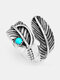 Vintage Feather Inlaid Turquoise Ring Temperament Metal Open Ring - Silver