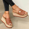 Plus Size Casual Solid Color Open Toe Espadrilles Platform Slippers - Brown