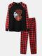 Mens Halloween Pumpkin Print Plaid Patchwork Raglan Sleeve Pajamas Sets - Black