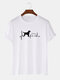 Mens Dog Heartbeat Graph Graphic Casual 100% Cotton Short Sleeve T-Shirts - White