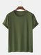Mens Solid Color Cotton Round Neck Short Sleeve Casual Basic T-Shirts - Army Green