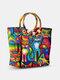Frauen Strand Sommer Stroh Colorful Cartoon Katze Muster Handtasche Tote - Regenbogen