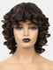 Brown Short Curly Hair High Temperature Fiber Fluffy Full Head Cover Wig - Brown