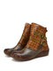 SOCOFY Retro Ethnic Handmde Soft Cowhide Leather Comfy Non Slip Side Zipper Casual Short Boots - Gray Camel