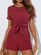 Solid Color Bowknot Short Sleeve Casual Romper for Women - Wine Red