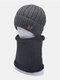 पुरुषों 2PCS पत्र Plus मखमल मोटी सर्दियों आउटडोर गर्दन संरक्षण टोपी दुपट्टा बुना हुआ टोपी टोपी पहनने की कढ़ाई - अंधेरे भूरा