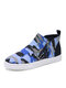Women Large Size Comfy Slip Resistant Side Zipper Flat Camouflage Ankle Boots - Blue