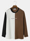 Mens Letter Embroidered Tricolor Plaid Polar Fleece Texture Long Sleeve T-Shirt - Brown