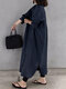 Solid Color Stand Collar Long Sleeve Plus Size Slit Dress with Button - Navy
