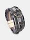 Ethnic Multilayer Leopard Women Bracelet Horsehair Magnetic Buckle Yoga Bracelet - Gray