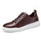 Men Vintage Skate Shoes Soft Sport Leather Sneakers - Coffee