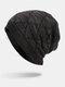 Men Winter Plus Velvet Striped Pattern Outdoor Long Knitted Warm Beanie Hat - Black