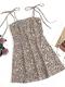 Leopard Print Straps Knotted Plus Size Short Dress - Brown