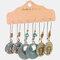 Bohemian Geometric Hollow Water Drop Pendant Earrings Vintage Turquoise Sun Flower Earring Set - 1