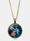Vintage Printed Colored Hummingbird Women Necklace Alloy Glass Pendant Sweater Chain - Bronze