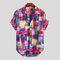Mens Summer Abstract Printed Brusttasche Umlegekragen Kurzarm Lose Shirts