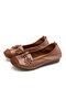 Women Solid Color Floral Decor Carved Stitching Leather Flat Shoes - Khaki