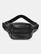 Men Outdoor Genuine Leather Cow Leather Multi-Layers Crossbody Bag Chest Bag Sling Bag - Black