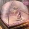 Moustiquaire à trois portes pour lit adulte Portable anti-moustique moustiquaire tente filet en maille - violet