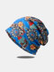 Women Dual-use Cotton Overlay Ethnic Calico Printed Elastic Casual Breathable Scarf Beanie Hat - Blue