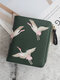 Women PU Leather Crane Embroidered Bags Card-slots Mini Small Wallet Purse - Green