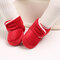 Baby Toddler Shoes Cute Comfy Plush Warm Soft Sole Hook Loop Snow Boots - Red